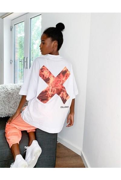 Soydance Asos Arkası Alev Baskılı Unisex Oversize T-Shirt Beyaz
