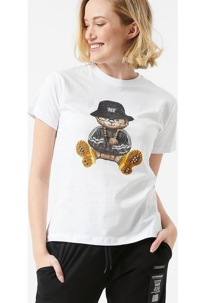 Dnz Taş ve Boncuk Detaylı T-Shirt