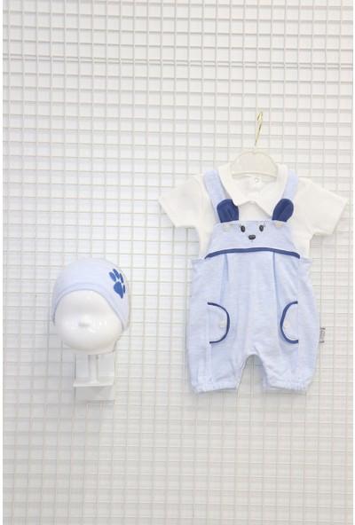 Nehad Bebe Nakış Işlemeli 2'li Takım Bady'li Şapkalı Erkek Bebek Tulumu Mavi