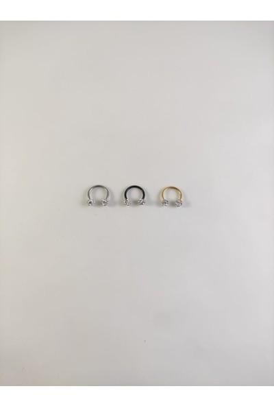 Takıparkxs 316L Cerrahi Çelik Üçlü Set 8 mm Shambala Taşlı Septum Piercing