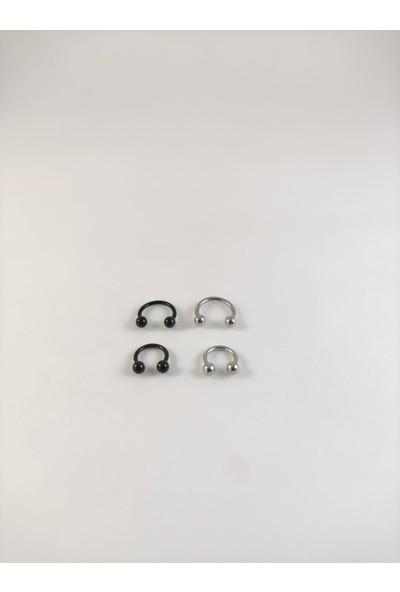 Takıparkxs 316L Cerrahi Çelik Iki Renk Dörtlü Set 6-8 mm Top Uçlu Septum Piercing