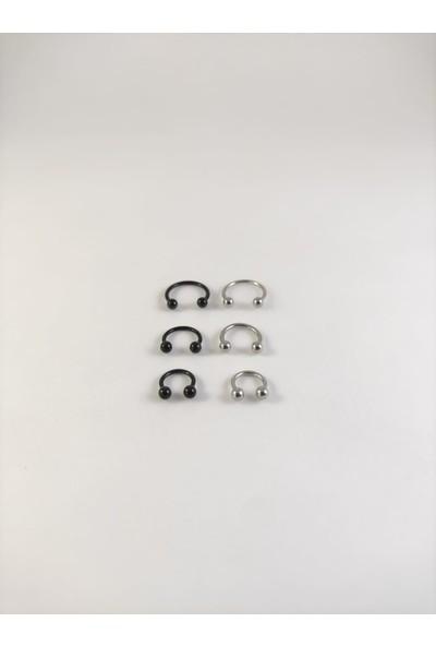 Takıparkxs 316L Cerrahi Çelik Iki Renk Altılı Set 6-8-10 mm Top Uçlu Septum Piercing