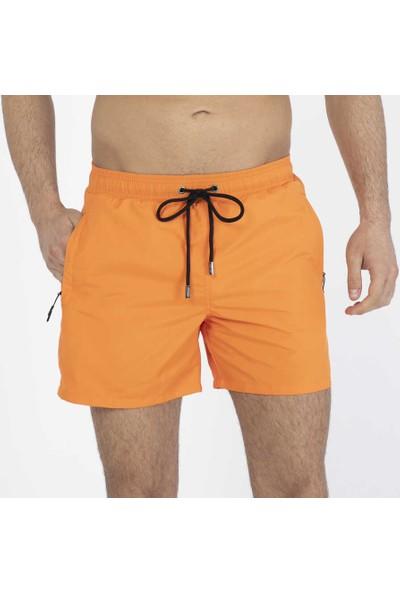 Miami Beach Oranj Su Itici Özellikli Erkek Havuz Deniz Şort Mayo - Basic Model Düz Renk - 301-ORANJ-20Y