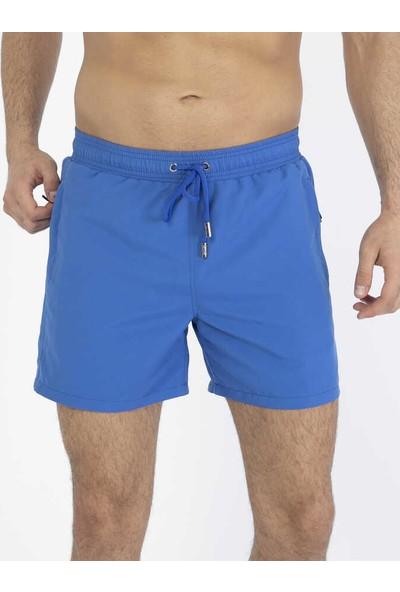 Miami Beach Saks Su Itici Özellikli Erkek Havuz Deniz Şort Mayo - Basic Model Düz Renk - 301-SAKS