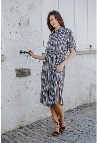 Blanca Dudu Bürümcük Kumaş Kalın Çizgili Gömlek Elbise