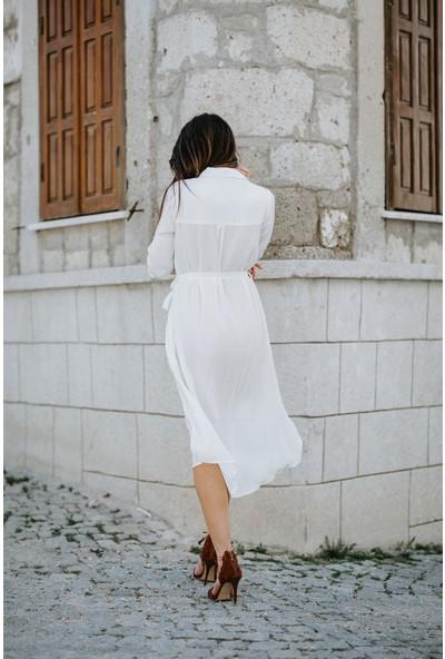 Blanca Dudu Bürümcük Kumaş Gömlek Elbise