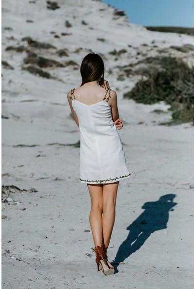 Blanca Elena Yaprak Detaylı Tünel Askı Elbise
