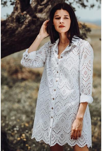 Blanca Flora Pamuk Brode Tunik Elbise