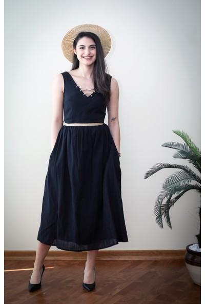 Blanca Eva Hasır Kemerli Pamuk Keten Elbise
