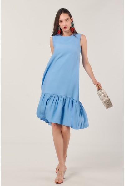 Coral 878 Keten Salaş Elbise Mavi