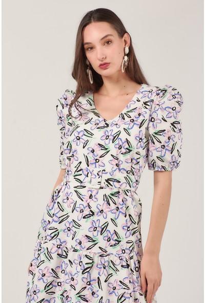 Coral 11299 Kuşaklı Çiçek Desen Elbise Ekru