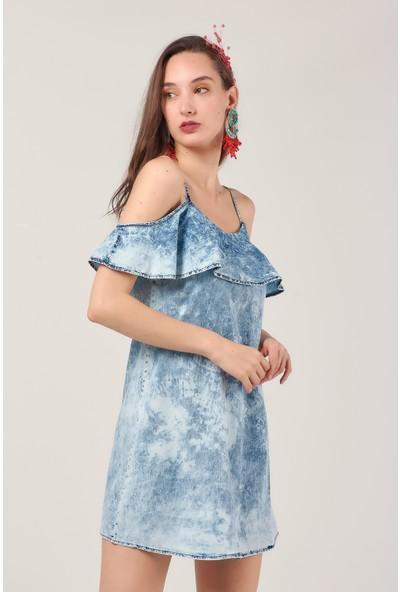 Coral 1321 Yıkamalı Askılı Kot Elbise Mavı