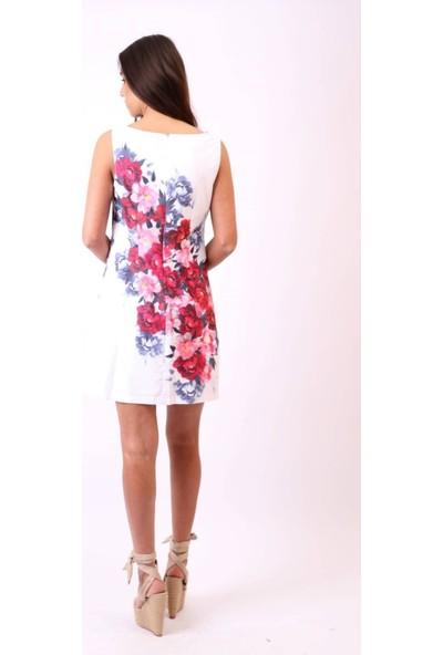 Aclassics Beyaz Kırmızı Çiçekli Elbise