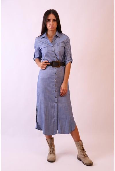 Aclassics Mavi Önden Düğmeli Uzun Elbise