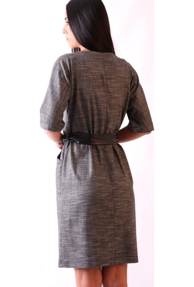Aclassics Önden Düğmeli Kemerli Elbise