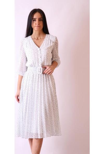 Aclassics Puantiyeli Piliseli Truvakar Kol Şifon Elbise