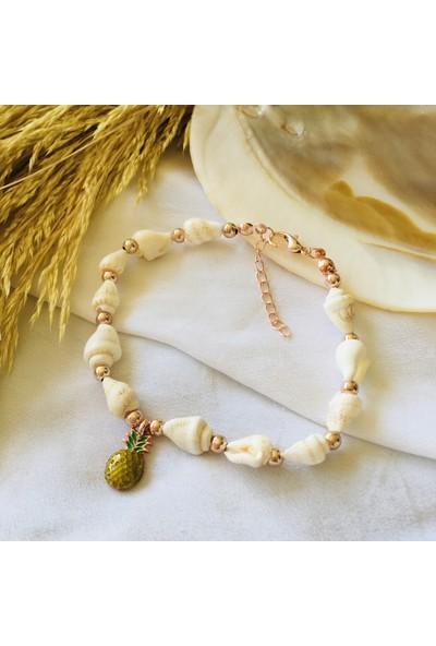 Pearl Beads Ananaslı Deniz Kabuğu Halhal