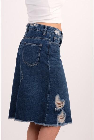 Quzu Mavi Yırmaçlı Yırtık Detaylı Kot Etek