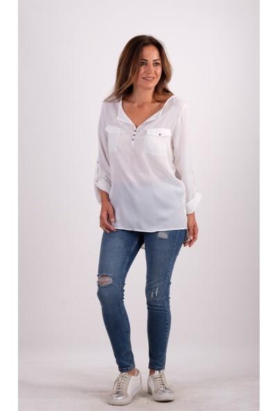 S.Y Collection Beyaz Cepli Tunik