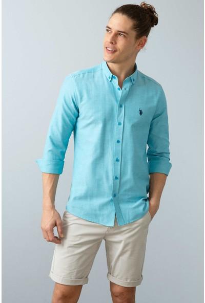 U.S. Polo Assn. Erkek Mavi Gömlek Uzunkol Basic 50226811-VR102