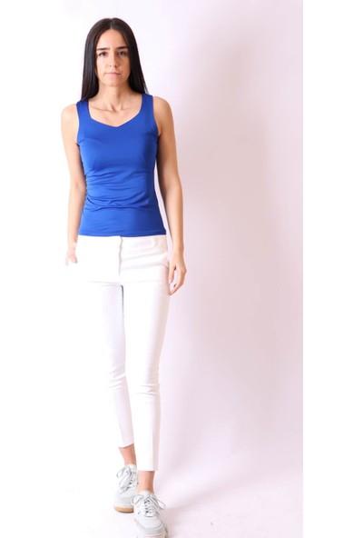 Aclassics Dar Paça Cepli Beyaz Pantolon