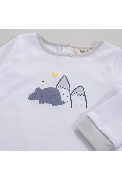 Chakra Dino Uzun Kollu Pijama Takımı Beyaz-Desenli