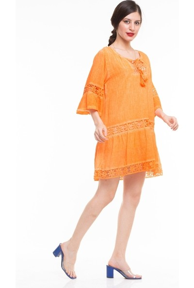 Maldia Dantel Detaylı İspanyol Kol İtalyan Elbise