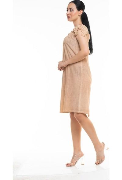 Maldia Dantel Yaka Uzun İtalyan Elbise