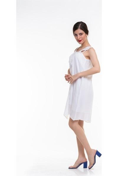 Maldia Dantel Yaka Askılı Uzun İtalyan Elbise