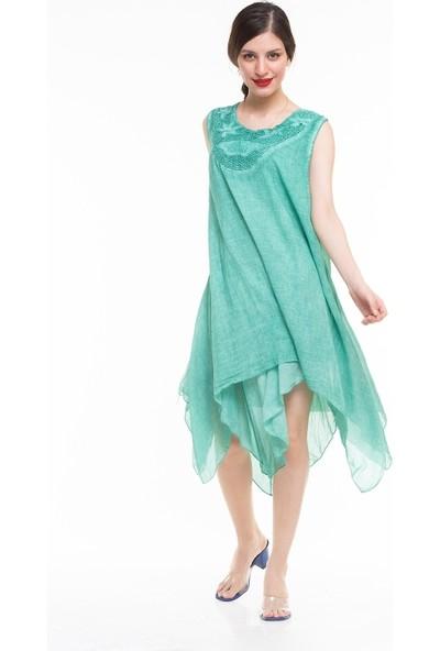 Maldia Dantel Yakalı Sıfır Kol İtalyan Elbise
