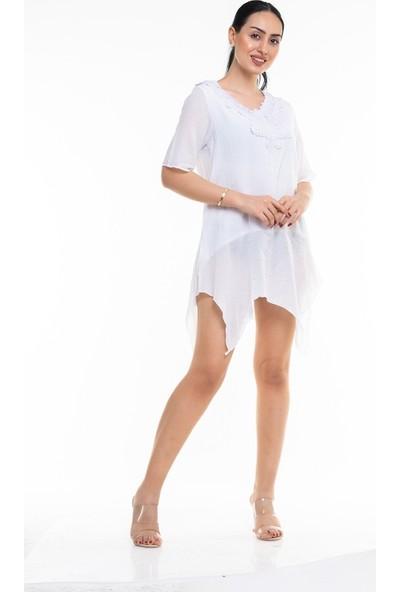 Maldia Dantelli V Yaka Uzun İtalyan Elbise