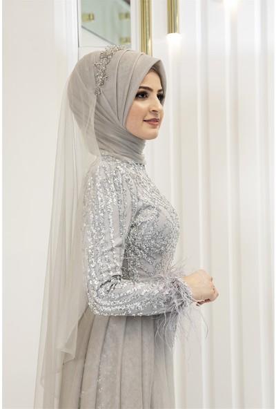 Pınar Şems Berru Abiye Gri