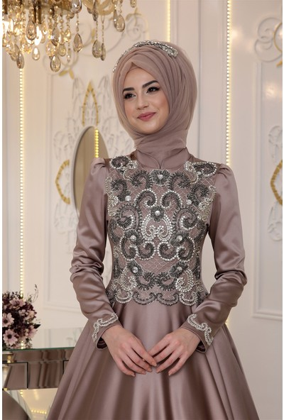Pınar Şems Saten Sahra Abiye Vizon