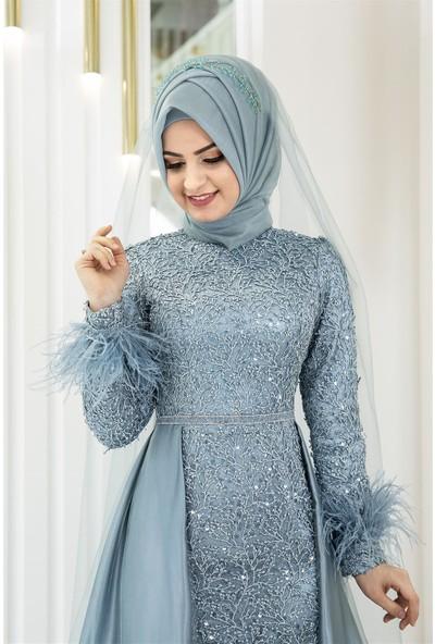 Pınar Şems Sarmaşık Abiye Mint
