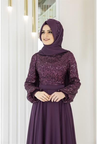 Pınar Şems Alya Abiye Mor