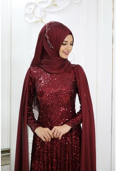 Pınar Şems Yeni Hüma Abiye Bordo