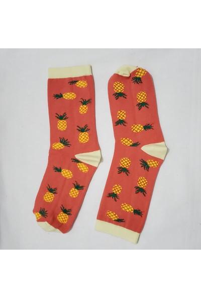 3dcini Ananas Desenli Soket Çorap