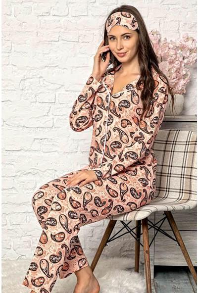 Manolya Pamuk Retro Biyeli Önden Düğmeli Kadın Pijama Takımı