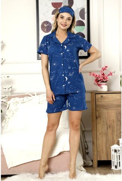 Pijamoni Pamuk Lacivert Düğmeli Yazlık Şortlu Kadın Pijama Takımı