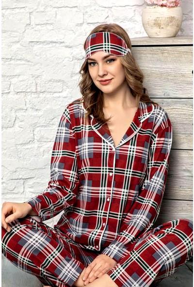 Manolya Nisanca Bordo Ekose Desenli Biyeli Kadın Düğmeli Pijama Takımı