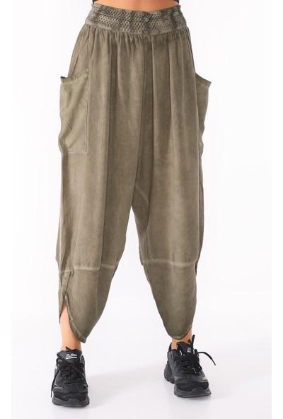 PodiumStar Beli Nakış Lastikli Yandan Cepli Şalvar Pantolon
