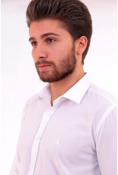Altegro Slim Fit Uzun Kollu Beyaz Likra Erkek Gömlek