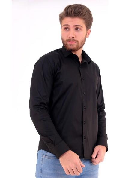Altegro Slim Fit Uzun Kollu Siyah Likra Erkek Gömlek
