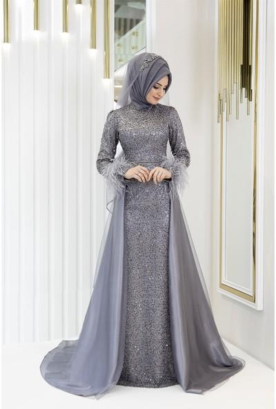 Pınar Şems Sarmaşık Abiye Gri