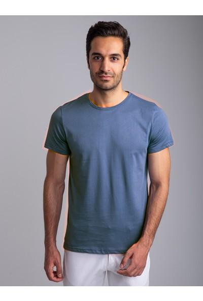 Dufy Indigo Bisiklet Yaka Düz Erkek T-Shirt - Slim Fıt