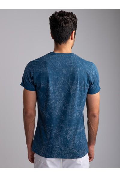 Dufy Indigo Polo Yaka Baskılı Erkek T-Shirt - Slim Fıt