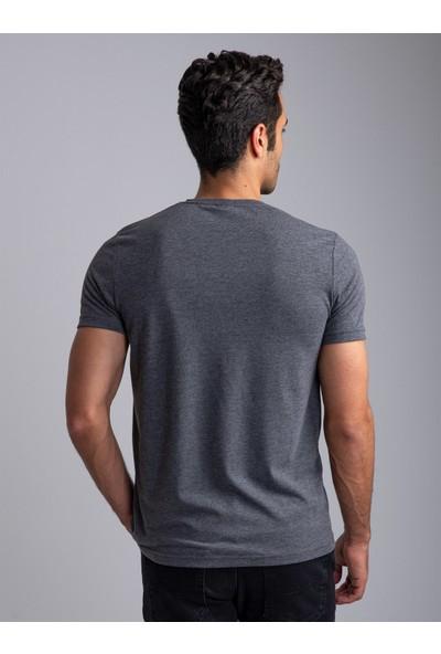 Dufy Koyu Gri Bisiklet Yaka Düz Erkek T-Shirt - Slim Fıt