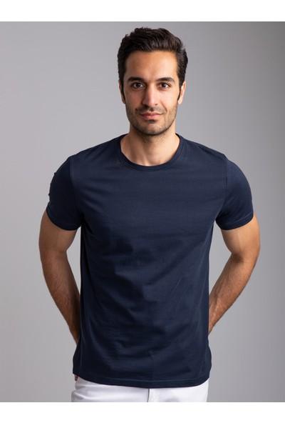 Dufy Koyu Lacivert Bisiklet Yaka Düz Erkek T-Shirt - Slim Fıt