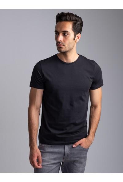 Dufy Siyah Bisiklet Yaka Düz Erkek T-Shirt - Slim Fıt