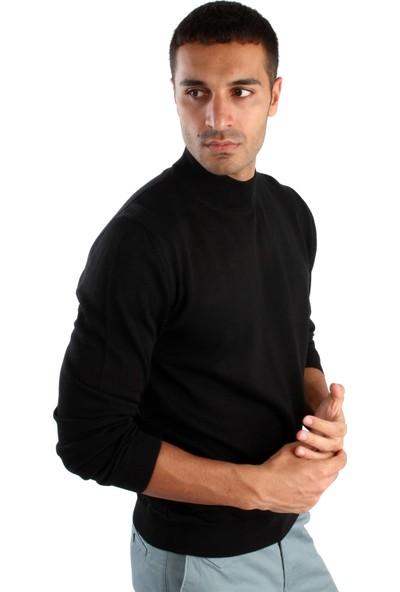 Dufy Siyah Büyük Beden Düz Erkek Triko - Battal